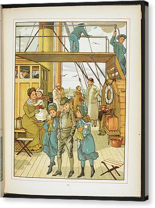 Family On Board A Passenger Ship Canvas Print
