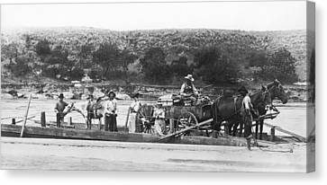 Family On Red River Ferry Canvas Print by Underwood Archives