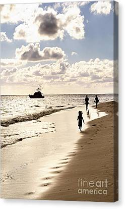 Family On Sunset Beach Canvas Print by Elena Elisseeva