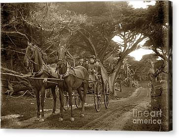 Family Out Carriage Ride On The 17 Mile Drive In Pebble Beach Circa 1895 Canvas Print by California Views Mr Pat Hathaway Archives