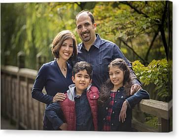 Family Portrait On Bridge - 1 Canvas Print