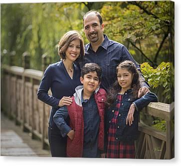 Family Portrait On Bridge - 2 Canvas Print