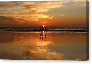 Family Reflections At Sunset -3  Canvas Print