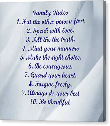 Family Rules Blue Canvas Print by Marty Koch