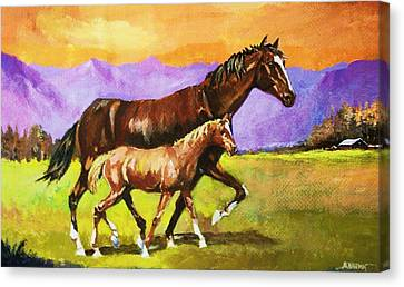 Canvas Print featuring the painting Family Stroll by Al Brown