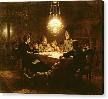 Family Supper In The Lamp Light, 19th Century Canvas Print by Knut Ekvall