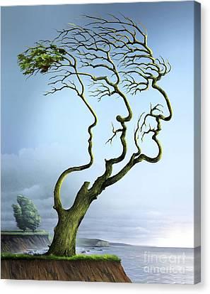 Genealogy Canvas Print - Family Tree, Conceptual Artwork by Wieslaw Smetek
