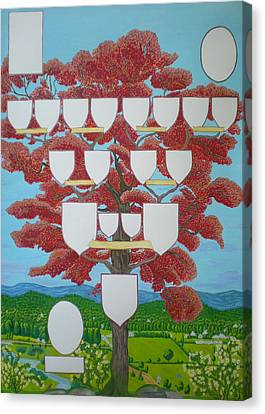 Family Tree Ruby-red Canvas Print
