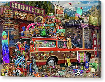 Canvas Print featuring the drawing Family Vacation by Aimee Stewart