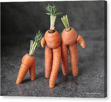 Family Walk - Funny Art - Comic Carrots - Good Luck Energy Print Canvas Print