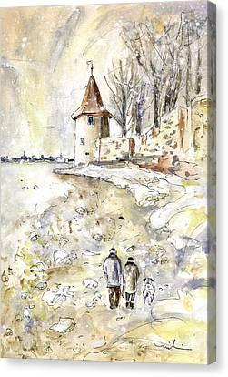 Family Walk In Lindau Canvas Print by Miki De Goodaboom