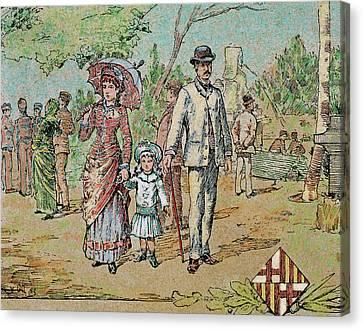 Family Walking Barcelona, Catalonia Canvas Print