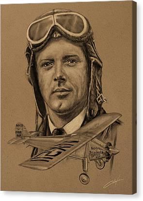 Famous Aviators Charles Lindbergh Canvas Print by Dale Jackson