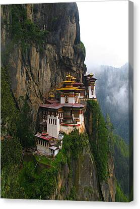 Famous Tigers Nest Monastery Of Bhutan Canvas Print by Lanjee Chee