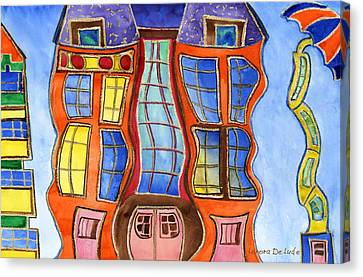 Canvas Print featuring the painting Fanciful Wavy House Painting by Lenora  De Lude