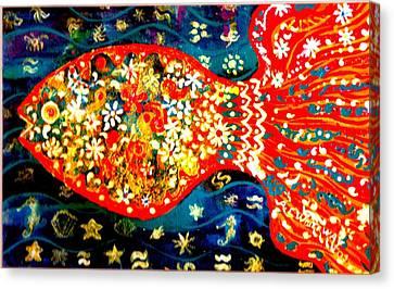 Fancy Happy  Gaga Fish Canvas Print by Anne-Elizabeth Whiteway