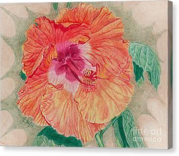 Fancy Hibiscus Canvas Print by Audrey Van Tassell