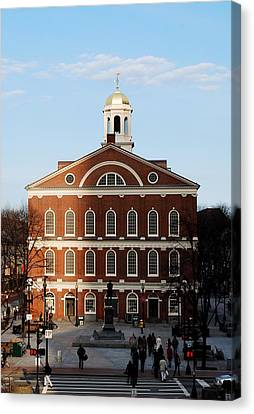 Canvas Print featuring the photograph Faneuil Hall At Sunset by Caroline Stella