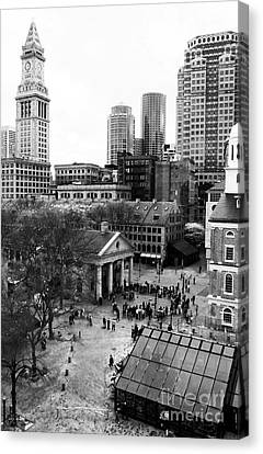Old School Houses Canvas Print - Faneuil Hall Marketplace by John Rizzuto
