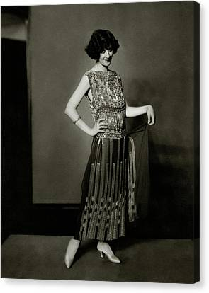 Fanny Brice Wearing A Dress Canvas Print by Edward Steichen