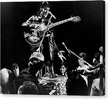 Fans Surround Elvis Presley Canvas Print by Retro Images Archive