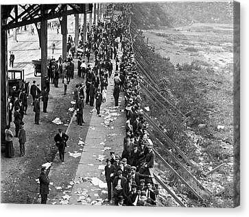 Fans Wait For Series Tickets. Canvas Print by Underwood Archives