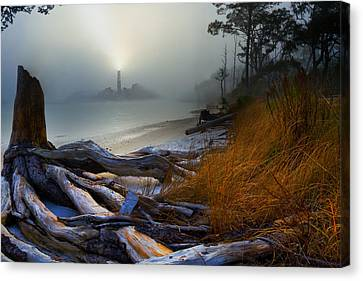 Canvas Print featuring the photograph Fantasy Art-sea Fog Island Lighthouse Night-twisted Roots by Eszra Tanner