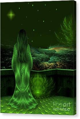 Fantasy Art - Wishing Upon A Star In A Green Night  By Rgiada  Canvas Print