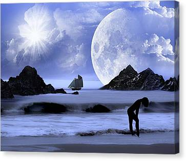Canvas Print featuring the digital art Fantasy Beach by Nina Bradica