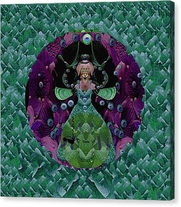 Fantasy Cat Fairy Lady On A Date With Yoda. Canvas Print by Pepita Selles