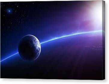 Fantasy Earth And Moon With Colourful  Sunrise Canvas Print