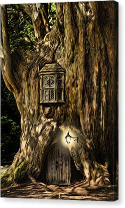 Fantasy Fairytale Tree House Digital Painting Canvas Print by Matthew Gibson