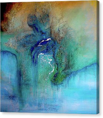Canvas Print featuring the painting Fantasy Falls by Tamara Bettencourt