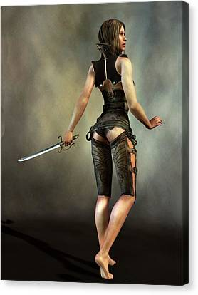 Canvas Print featuring the digital art Fantasy Female Assassin by Kaylee Mason