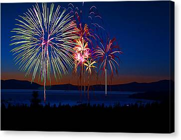 Fantasy Fireworks Canvas Print by Maria Coulson