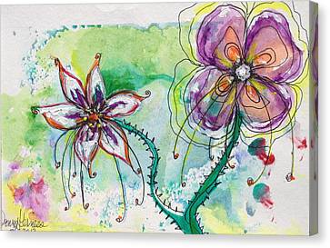 Fantasy Flowers Canvas Print by Donna Kerness