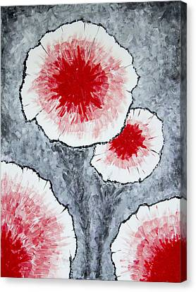 Canvas Print featuring the painting Fantasy Flowers In Red No 1 by Ben Gertsberg