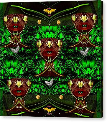 Fantasy Leather Heads In A Scenery Canvas Print