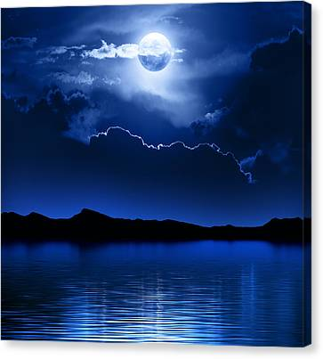 Fantasy Moon And Clouds Over Water Canvas Print by Johan Swanepoel