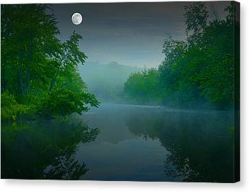 Fantasy Moon Over Misty Lake Canvas Print