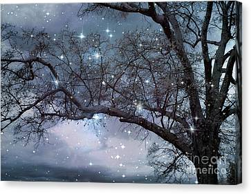 Fantasy Nature Blue Starry Surreal Gothic Fantasy Blue Trees Nature Starry Night Canvas Print by Kathy Fornal