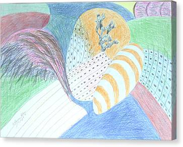 Canvas Print featuring the drawing Fantasy Of Egg And Cactus by Esther Newman-Cohen