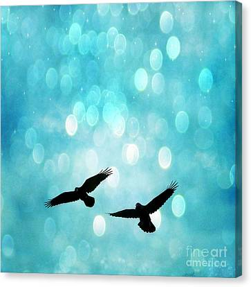 Fantasy Surreal Ravens Flying - Aquamarine Blue Bokeh Sparkling Lights Canvas Print by Kathy Fornal