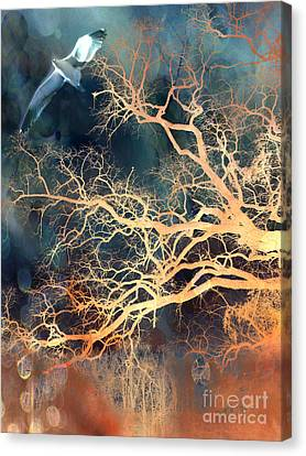 Flying Seagull Canvas Print - Seagull Gothic Fantasy Surreal Trees And Seagull Flying by Kathy Fornal