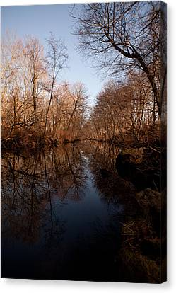 Far Mill River Reflects Canvas Print by Karol Livote