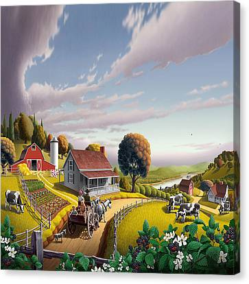 Farm Americana - Farm Decor - Appalachian Blackberry Patch - Square Format - Folk Art Canvas Print by Walt Curlee