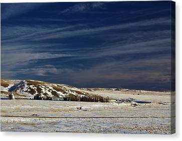Farm At Bottom Of Hill In Winter Canvas Print by Roberta Murray
