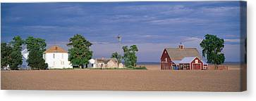 Farm At Sunset, South Ritzville, Route Canvas Print by Panoramic Images