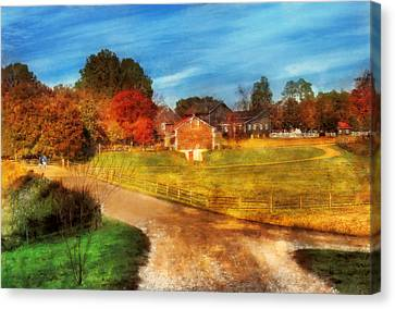 Farm - Barn -  A Walk In The Country Canvas Print by Mike Savad