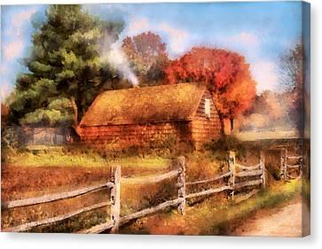 Farm - Barn - Our Cabin Canvas Print by Mike Savad